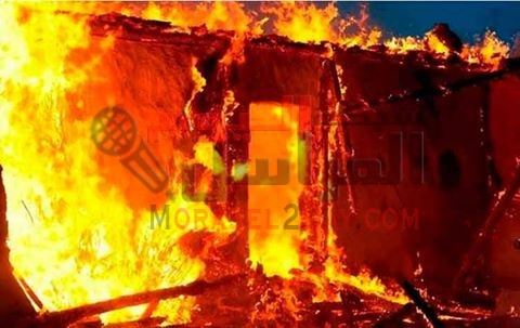 حريق هائل فى مصنع طوب بالفيوم