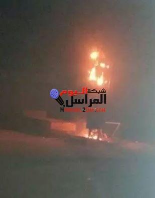 حريق هائل بمحول كهرباء عمومى بقرية اطسا بالمنيا .