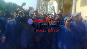 وقفة احتجاجية لعمال النظافة لعدم صرف رواتبهم منذ 5اشهرفى اهناسيا بنى سويف