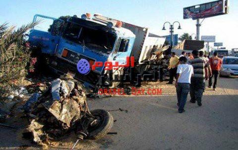 مصرع مواطن في حادث تصادم سيارتين بالفيوم