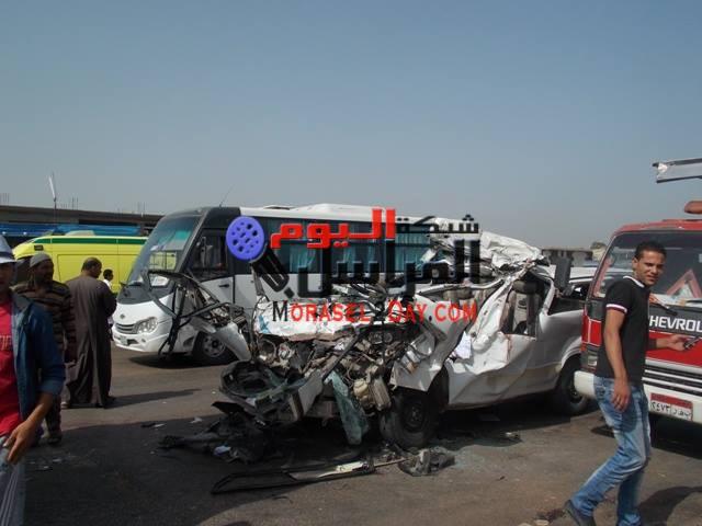 إصابة 21 مواطنا في حادث تصادم مروع بالفيوم