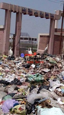 القمامة تحاصر محطة الصرف الصحى بمركز اطسا بالفيوم