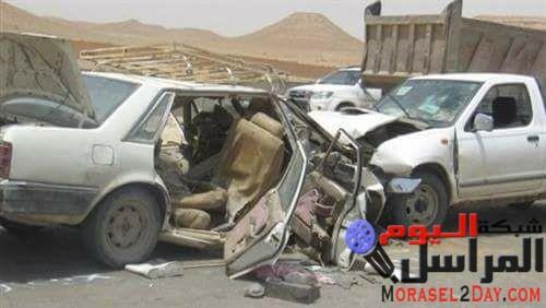 مصرع وإصابة 6 فى حادث تصادم سيارة ملاكى بأخرى نقل على صحراوى بنى سويف