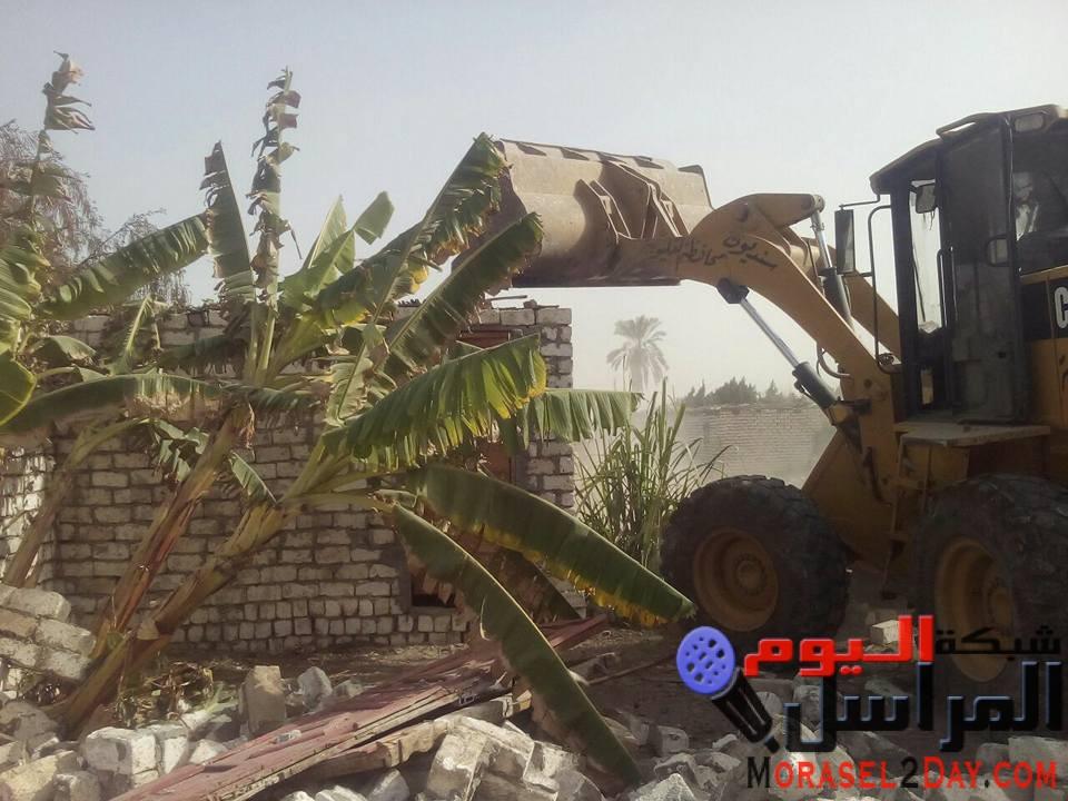 ازالة 38 حالة ازالة على الاراضى الزراعية بمدن القناطر وقليوب والخانكة وحملة لرفع الاشغالات بمدينة الخصوص