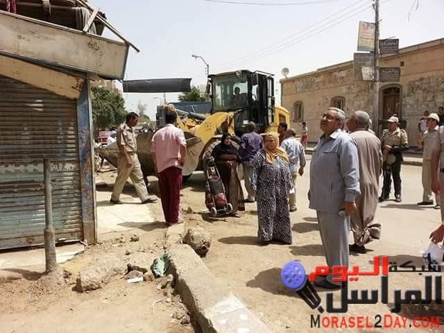 بالصور رفع 398حالة اشغالات متنوعه بمدينة الفشن جنوب بني سويف