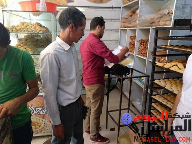 بالصور تحرير 9 محاضر لمنشات غير مرخصة لبيع كعك العيد ببنى سويف