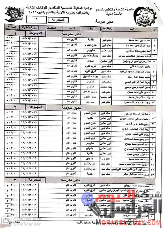 محافظة الفيوم مديرية التربية والتعليم هام وعاجل