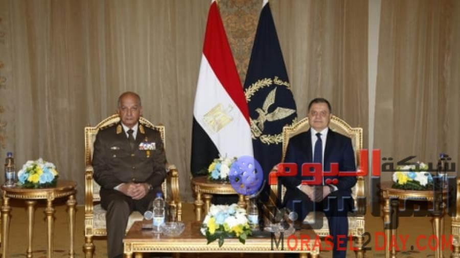 وزير الداخلية يستقبل الفريق أول / محمد زكى القائد العام للقوات المسلحة بمقر وزارة الداخلية