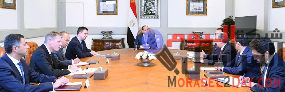 """الرئيس السيسي يستقبل رئيس شركة """"شنايدر إليكتريك"""" العالمية وعدداً من قيادات الشركة"""